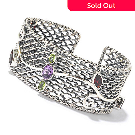 130-148 - Artisan Silver by Samuel B. Multi Gemstone Adjustable Cuff Bracelet