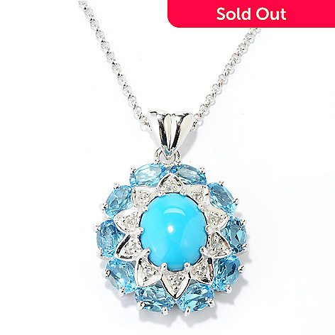 130-150 - Gem Insider® Sterling Silver 12 x 10mm Sleeping Beauty Turquoise & Topaz Pendant