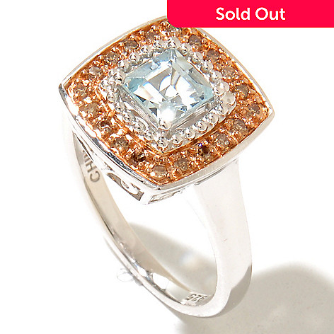 130-151 - Gem Insider™ Sterling Silver Aquamarine & Champagne Diamond Square Ring