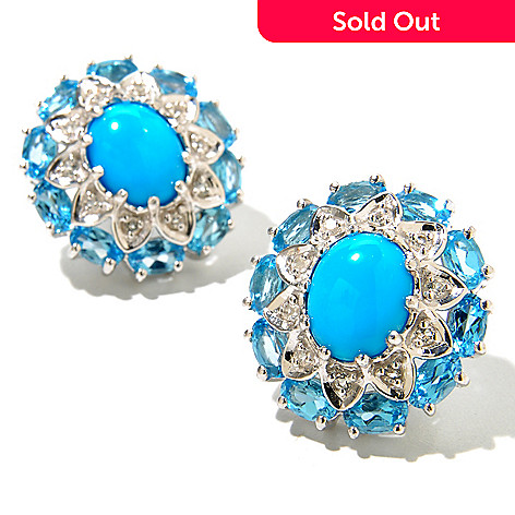 130-152 - Gem Insider® Sterling Silver 10 x 8mm Sleeping Beauty Turquoise & Topaz Earrings
