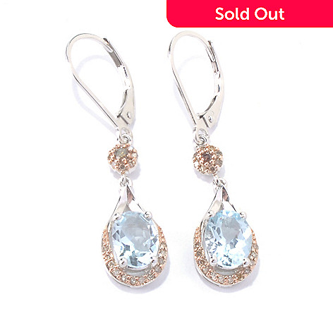 130-153 - Gem Insider™ Sterling Silver 2.32ctw Aquamarine & Diamond Drop Earrings