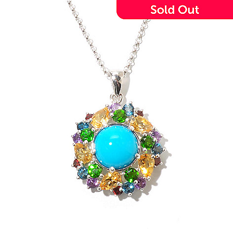 130-155 - Gem Insider® Sterling Silver 11mm Sleeping Beauty Turquoise & Multi Gem Pendant