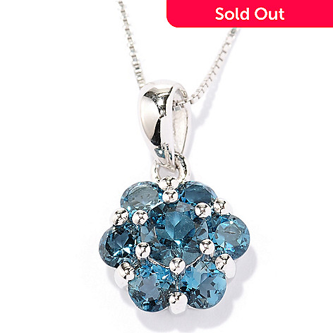 130-156 - Gem Insider Sterling Silver Gemstone Flower Pendant w/ 18'' Chain