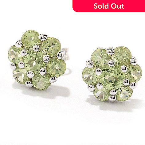 130-159 - Gem Insider Sterling Silver 2.00ctw Gemstone Flower Stud Earrings