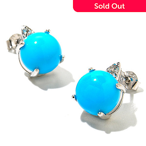 130-160 - Gem Insider™ Sterling Silver 10mm Sleeping Beauty Turquoise & Topaz Earrings