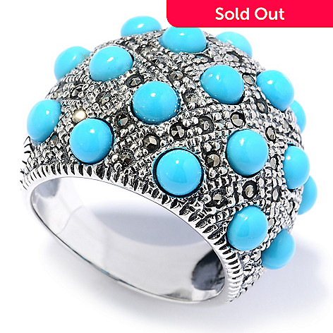 130-162 - Gem Insider™ Sterling Silver Sleeping Beauty Turquoise & Marcasite Ring