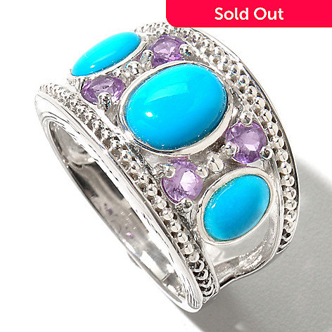 130-164 - Gem Insider™ Sterling Silver Oval Sleeping Beauty Turquoise & Amethyst Ring