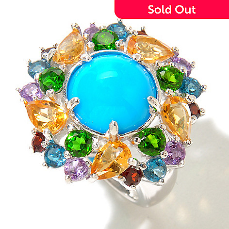 130-165 - Gem Insider™ Sterling Silver 11mm Sleeping Beauty Turquoise & Multi Gem Ring