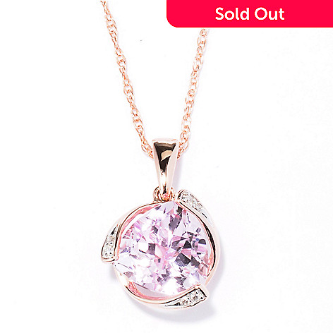 130-167 - Gem Treasures® 14K Rose Gold 2.52ctw Kunzite & Diamond Trillion Pendant w/ Chain