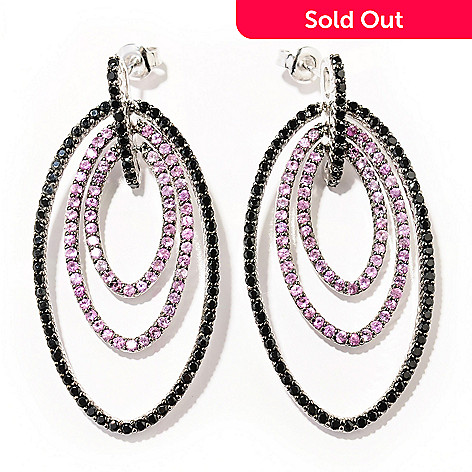 130-168 - Gem Treasures® Sterling Silver 4.40ctw Pink Sapphire & Black Spinel Earrings