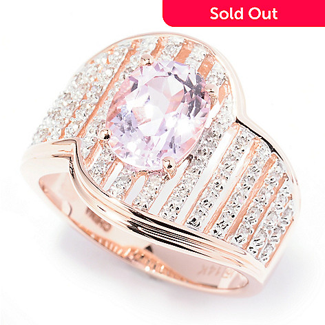 130-169 - Gem Treasures® 14K Rose Gold 2.08ctw Kunzite & Diamond Wave Ring