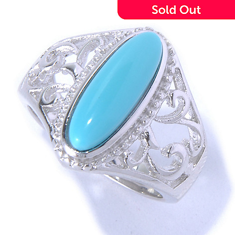 130-170 - Gem Insider™ Sterling Silver 14 x 5mm Sleeping Beauty Turquoise North-South Ring