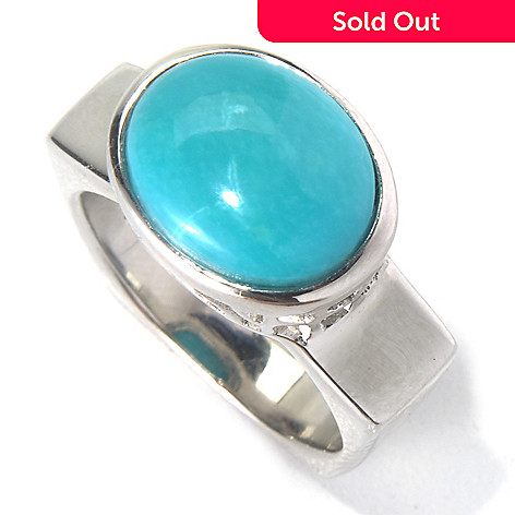 130-171 - Gem Insider™ Sterling Silver 11 x 9mm Sleeping Beauty Turquoise Square Shank Ring