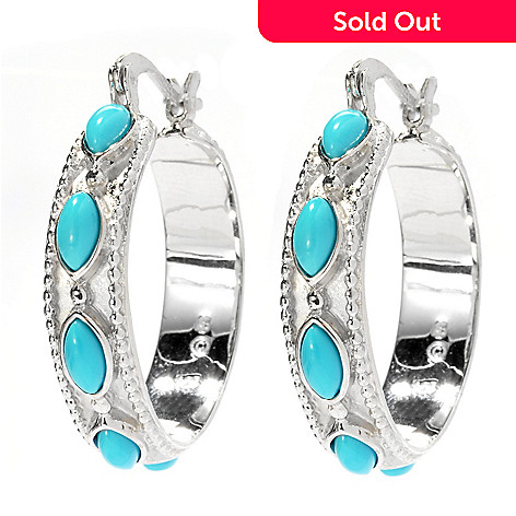 130-172 - Gem Insider™ Sterling Silver 1.25'' Sleeping Beauty Turquoise Hoop Earrings
