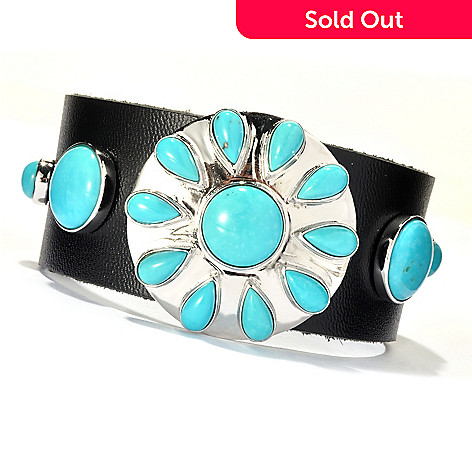 130-176 - Gem Insider™ Sterling Silver & Leather 8'' Sleeping Beauty Turquoise Bracelet