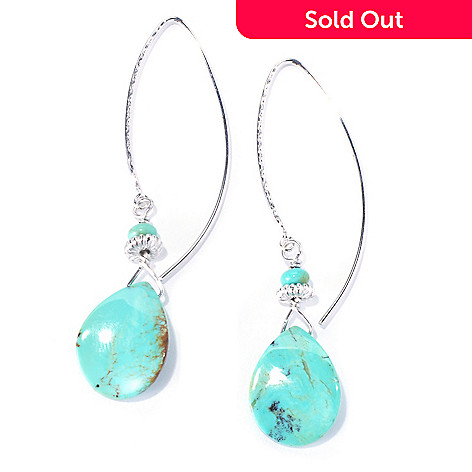 130-180 - Gem Insider® Sterling Silver 2.5'' 18 x 14mm Kingman Turquoise Drop Earrings