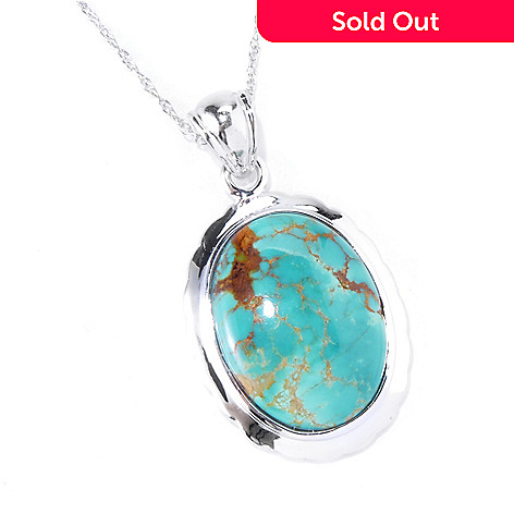 130-181 - Gem Insider® Sterling Silver 20 x 15mm Oval Gleeson Turquoise Pendant w/ Chain