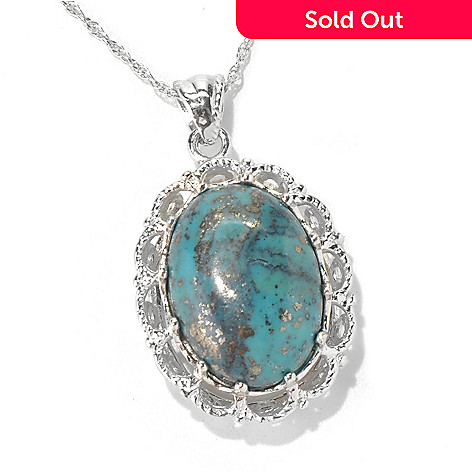 130-185 - Gem Insider™ Sterling Silver 18 x 13mm Bisbee Turquoise Pendant w/ 18'' Chain