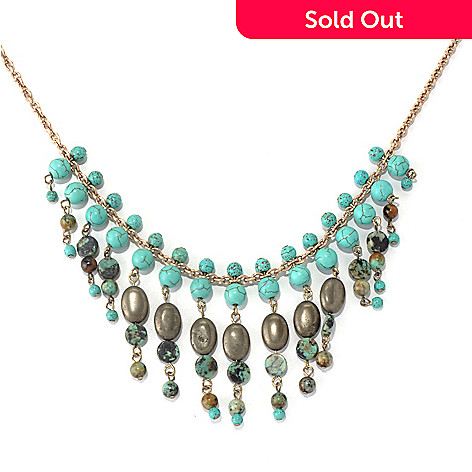 130-195 - Zen 17'' Gold-tone Turquoise Bead Dangle Necklace