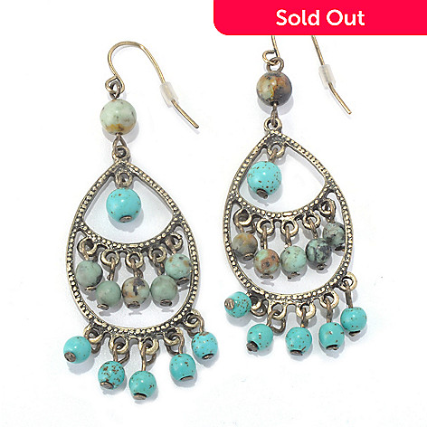 130-197 - Zen 2.5'' Gold-tone Turquoise Bead Dangle Earrings