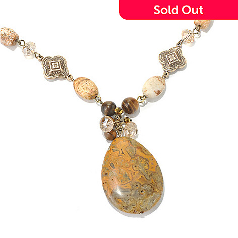 130-198 - Zen 17'' Gold-tone Picture Jasper & Multi Bead Necklace