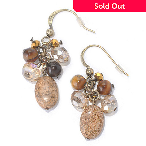 130-200 - Zen Gold-tone Picture Jasper & Multi Bead Dangle Earrings