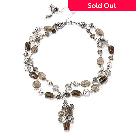 130-201 - Zen 16'' Silver-tone Smoky Quartz Bead Two-Strand Necklace