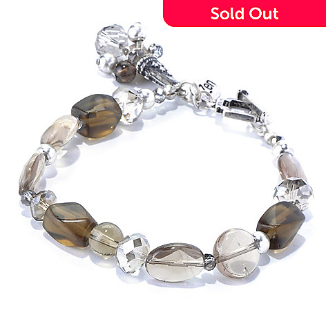 130-202 - Zen Silver-tone Smoky Quartz Bead Toggle Bracelet