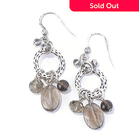 130-203 - Zen Silver-tone Smoky Quartz Circle Dangle Earrings