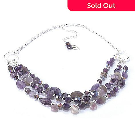 130-204 - Zen 17'' Silver-tone Amethyst Bead Multi Strand Necklace w/ Extender
