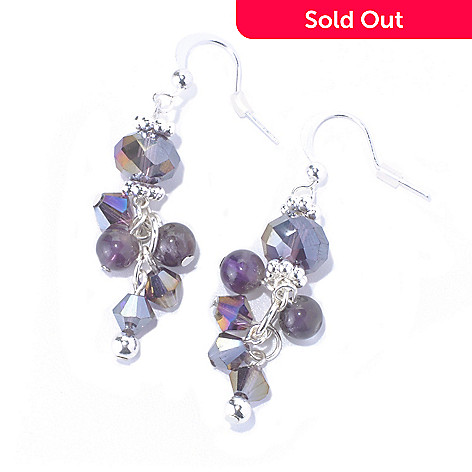 130-206 - Zen  Silver-tone Amethyst Bead Dangle Earrings