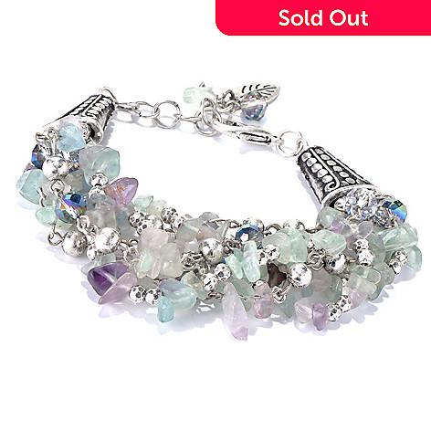 130-208 - Zen 7'' Silver-tone Fluorite Bead Multi Strand Bracelet