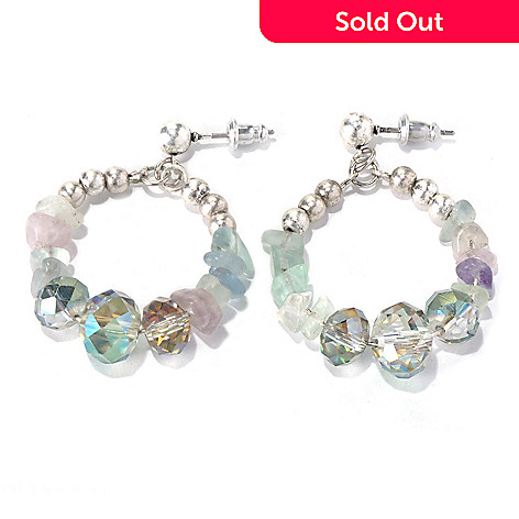 130-209 - Zen Silver-tone Fluorite Bead Circle Drop Earrings