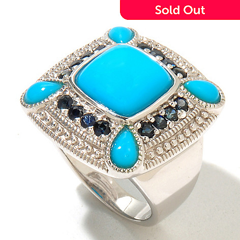 130-210 - Gem Insider™ Sterling Silver 10 x 10mm Sleeping Beauty Turquoise & Sapphire Ring