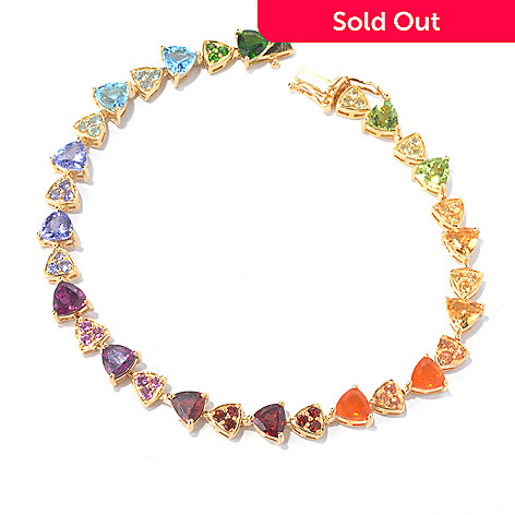130-213 - NYC II 7.25'' Trillion Shaped & Pave Set Multi Gemstone Tennis Bracelet