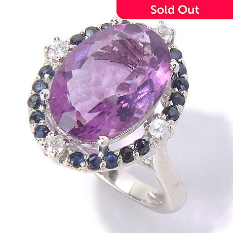 130-214 - NYC II™ 6.62ctw Purple Fluorite, Sapphire & White Zircon Halo Ring
