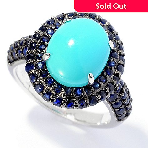 130-215 - NYC II® 11 x 9mm Turquoise & Sapphire Halo Ring
