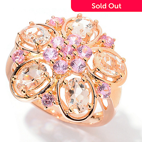 130-217 - NYC II® 2.32ctw Morganite & Pink Sapphire Flower Ring