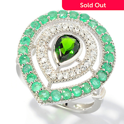 130-218 - NYC II™ 1.69ctw Emerald, Chrome Diopside & White Zircon Pear Shaped Ring