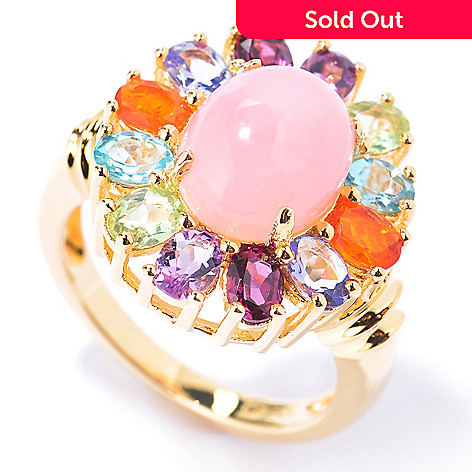 130-219 - NYC II™ Pink Opal & Multi Gemstone Rainbow Halo Ring