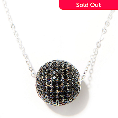130-228 - NYC II 3.40ctw Black Spinel Ball Pendant w/ 18'' Chain