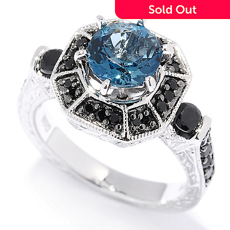 130-230 - NYC II™ 2.83ctw London Blue Topaz & Black Spinel Halo Ring