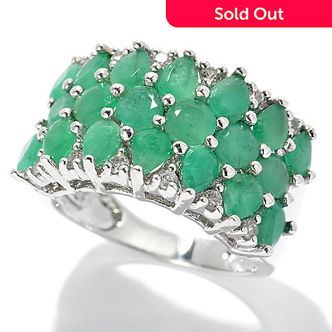 130-233 - NYC II 3.07ctw Sakota Emerald & White Zircon Polished Ring