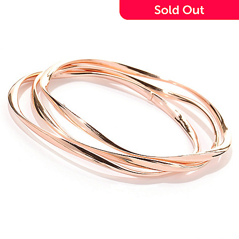 130-249 - ''As Is'' Portofino Rose Gold Embraced™ Set of Three Wave Twist Slip-on Bangle Bracelets