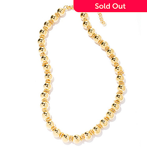 130-265 - Milano Luxe Gold Embraced™ 18'' High Polished & Diamond Cut Beaded Necklace