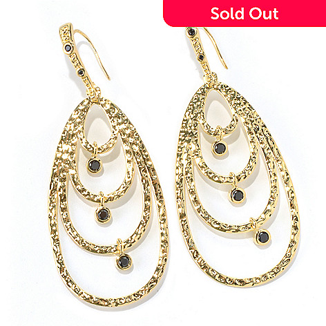130-279 - Toscana Italiana 18K Gold Embraced™ 3'' Black SpinelCharm Teardrop Earrings