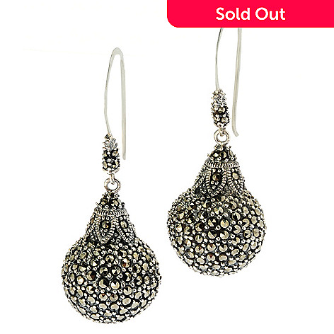 130-290 - Dallas Prince Pave Ball Drop Earrings Made w/ Swarovski® Marcasite