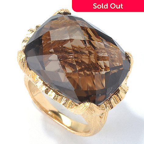 130-291 - Dallas Prince 20 x 16mm Cushion Smoky Quartz & Yellow Sapphire Textured Ring