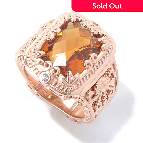 130-294 - Dallas Prince 6.60ctw Cushion Shaped Madeira Citrine & Sapphire Scrollwork Ring