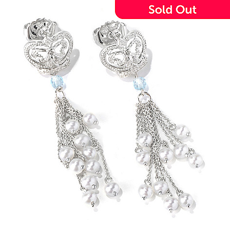 130-295 - Dallas Prince Sterling Silver Topaz, Diamond & Cultured Pearl Drop Earrings